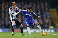 Jack Colback of Newcastle United challenges Pedro of Chelsea. Barclays Premier league match, Chelsea v Newcastle Utd at Stamford Bridge in London on Saturday 13th February 2016.<br /> pic by John Patrick Fletcher, Andrew Orchard sports photography.
