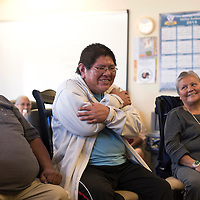 032515      Cayla Nimmo<br /> <br /> Ronald Platero participates in a group workshops on  carrying for elderly with dementia in Standing Rock Wednesday. The workshop was hosted by Gary Glazner, Executive Director of the Alzheimer's Poetry Project based in New York.