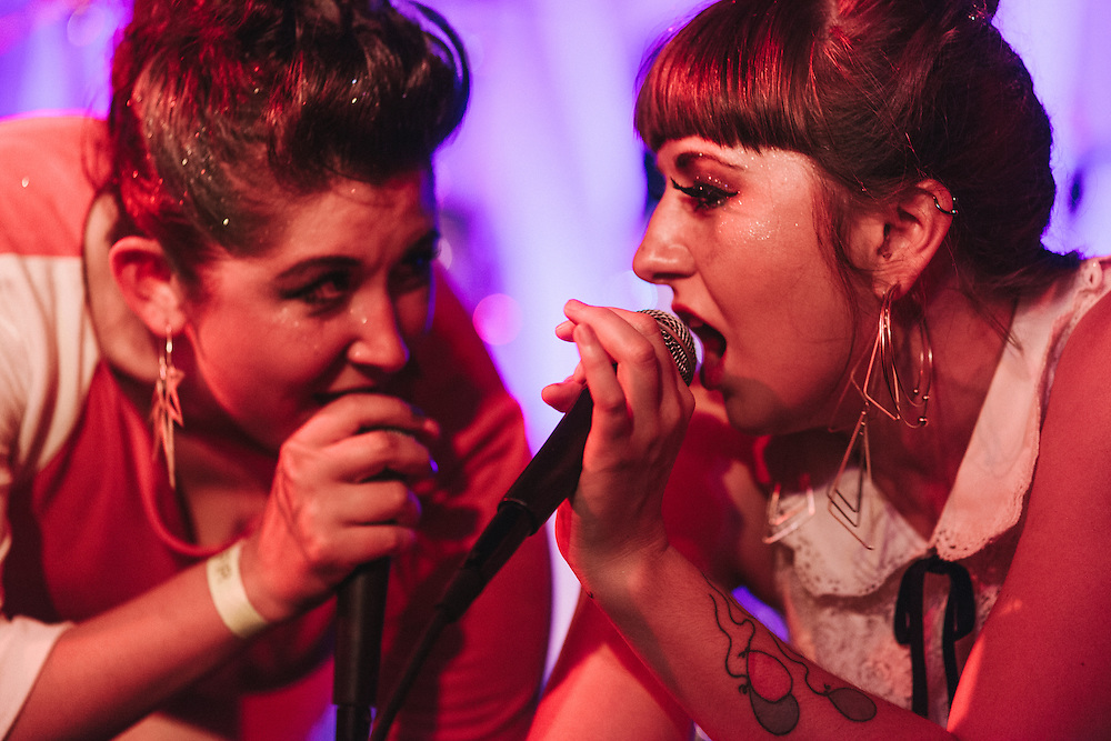 Sara Hernandez and Molly Wiltshire of Fault Lines at the Doug Fir Lounge.