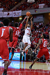 11 February 2017:  Keyshawn Evans(3) shoots a long two over Koch Bar during a College MVC (Missouri Valley conference) mens basketball game between the Bradley Braves and Illinois State Redbirds in  Redbird Arena, Normal IL