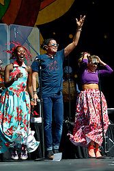 24 April 2016. New Orleans, Louisiana.<br /> The New Orleans Jazz and Heritage Festival. <br /> Columbian singer Carlos Vives wows the crowd from the Congo Square stage.<br /> Photo; Charlie Varley/varleypix.com