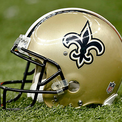 Sep 22, 2013; New Orleans, LA, USA; A detail of a New Orleans Saints helmet during a game against the Arizona Cardinals at Mercedes-Benz Superdome. The Saints defeated the Cardinals 31-7. Mandatory Credit: Derick E. Hingle-USA TODAY Sports