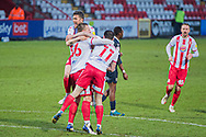 GOAL 2-2 Luke Norris (36) celebrates his goal with Stevenage forward Danny Newton (11) and Stevenage defender Ben Coker (3) during the EFL Sky Bet League 2 match between Stevenage and Morecambe at the Lamex Stadium, Stevenage, England on 6 February 2021.