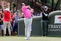 June 22, 2018 - Cromwell, CT, U.S. - CROMWELL, CT - JUNE 22: Rory McIlroy of Northern Ireland drives from the 18th tee during the Second Round of the Travelers Championship on June 22, 2018, at TPC River Highlands in Cromwell, Connecticut. (Photo by Fred Kfoury III/Icon Sportswire) (Credit Image: © Fred Kfoury Iii/Icon SMI via ZUMA Press)