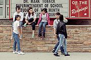 Teens hanging out at high school Hoboken, NJ 2011