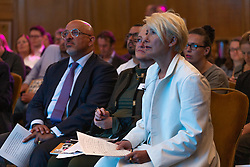 Children's Minister Nadhim Zahawi MP and Dame Emma Thompson at the launch of the Children's Future Food Inquiry at Church House in Westminster. London, April 25 2019.