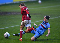 Ebony Salmon of Bristol City Women is challenged by Gilly Flaherty of West Ham United Women - Mandatory by-line: Ryan Hiscott/JMP - 13/12/2020 - FOOTBALL - Twerton Park - Bath, England - Bristol City Women v West Ham United Women - Barclays FA Women's Super League