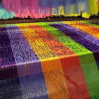 Europe, Ireland, Avoca. Avoca Handweavers Mill, County Wicklow. Woollen Weaving Loom.
