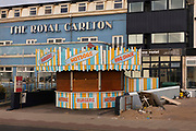Hotels closed on the sea front during the pandemic on 21st April 2021 in Blackpool, Lancashire, United Kingdom. Blackpool is a large town and seaside resort in the county of Lancashire on the north west coast of England. Blackpool was once a booming resort with it's famous promenade which now, despite having a somewhat shabby appearance, still continues to attract millions of visitors each year. During the coronavirus pandemic however, Blackpool has struggled, with empty streets and closed down businesses creating an atmosphere more like a ghost town.