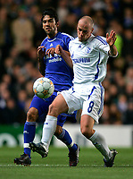 Photo: Tom Dulat.<br /> Chelsea v Shalke 04. Group B, UEFA Champions League. 24/10/2007.<br /> Fabian Ernst of Shalke 04 and Paulo Ferreira of Chelsea with the ball.