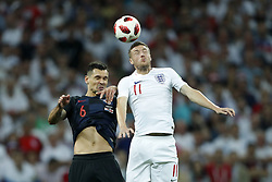 (L-R) Dejan Lovren of Croatia, Jamie Vardy of England during the 2018 FIFA World Cup Russia Semi Final match between Croatia and England at the Luzhniki Stadium on July 01, 2018 in Moscow, Russia