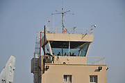 Air traffic control tower at an Israeli Air Force base in Haifa, Israel