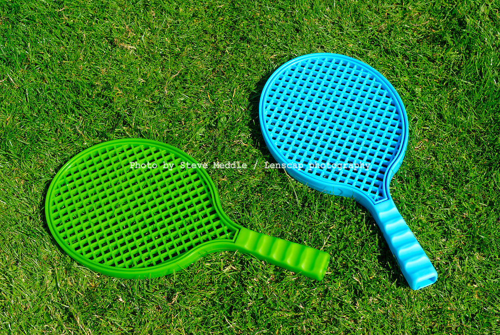 Childrens Tennis Racquets Laying on Lawn - Aug 2009