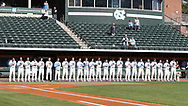 CHAPEL HILL, NC - FEBRUARY 27: UNC players line up for the playing of the national anthem. The University of North Carolina Tar heels hosted the High Point University Panthers on February 27, 2018, at Boshamer Stadium in Chapel Hill, NC in a Division I College Baseball game. UNC won the game 10-0.