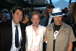 Left to right, BRYAN FERRY, GEORDIE GRIEG and KID ROCK at the Tatler Summer Party in association with Moschino at Home House, 20 Portman Square, London W1 on 29th June 2005.<br />