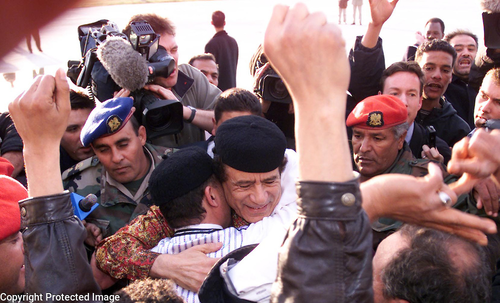 PIC BY PAUL GROVER IN LIBYA ,TRIPOLI PIC SHOWS THE LEADER OF LIBYA COLONEL GADAFFI WITH THE NEWLY RELEASED AL AMIN KHALIFA FHIMAH IN THE BOMBED OUT FORMER HOME OF GADAFFI PIC PAUL GROVER
