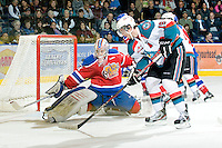 KELOWNA, CANADA, FEBRUARY 15: Brett Bulmer #19 of the Kelowna Rockets looks for the shot on Laurent Brossoit #31 of the Edmonton OIl Kings at the Kelowna Rockets on February 15, 2012 at Prospera Place in Kelowna, British Columbia, Canada (Photo by Marissa Baecker/Shoot the Breeze) *** Local Caption ***