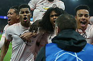 Manchester United Forward Marcus Rashford celebrates his goal  during the Champions League Round of 16 2nd leg match between Paris Saint-Germain and Manchester United at Parc des Princes, Paris, France on 6 March 2019.