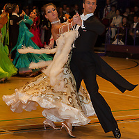 Oleg Storozhuk and Yaroslava Perederiy from Ukraine perform their dance during the amateur ballroom competition of the International Championships held in Brentwood International Centre, Brentwood, United Kingdom. Wednesday, 20. October 2010. ATTILA VOLGYI