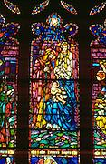 Stained glass Nativity at House of Hope Presbyterian Church. St Paul Minnesota USA