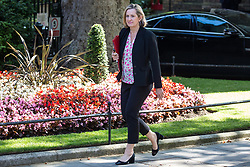 London, UK. 23 July, 2019.  Amber Rudd MP, Secretary of State for Work and Pensions, arrives at 10 Downing Street for the final Cabinet meeting of Theresa May's Premiership. The name of the new Conservative Party Leader, and so the new Prime Minister, will be announced at a special event following the meeting.