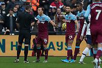 Football - 2019 / 2020 Premier League - West Ham United vs. Tottenham Hotspur<br /> <br /> Mark Noble (West Ham United) protests over the free kick decision at the London Stadium<br /> <br /> COLORSPORT/DANIEL BEARHAM
