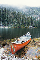 Canoe on lake near Mt Rainier, WA.