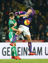 14.02.2016, Generali Arena, Wien, AUT, 1. FBL, FK Austria Wien vs SK Rapid Wien, 22. Runde, im Bild Matej Jelic (SK Rapid Wien) und Vanche Shikov (FK Austria Wien) // during Austrian Football Bundesliga Match, 22nd Round, between FK Austria Vienna and SK Rapid Vienna at the Generali Arena, Vienna, Austria on 2016/02/14. EXPA Pictures © 2016, PhotoCredit: EXPA/ Thomas Haumer