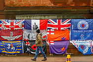 Flags line the street during the Ladbrokes Scottish Premiership match between Rangers and Kilmarnock at Ibrox, Glasgow, Scotland on 16 March 2019.