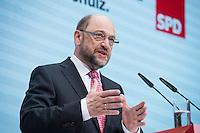 30 JAN 2017, BERLIN/GERMANY:<br /> Martin Schulz, SPD, Kanzlerkandidat und designierter Parteivorsitzender, waehrend einer Pressekonferenz nach der Klausurtagung der SPD Spitze, Willy-Brandt-Haus<br /> IMAGE: 20170130-01-011