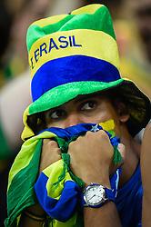 Torcida Brasileira na partida entre Brasil x Colombia, válida pelas quartas de final da Copa do Mundo 2014, no Estádio Castelão, em Fortaleza-CE. FOTO: Jefferson Bernardes/ Agência Preview