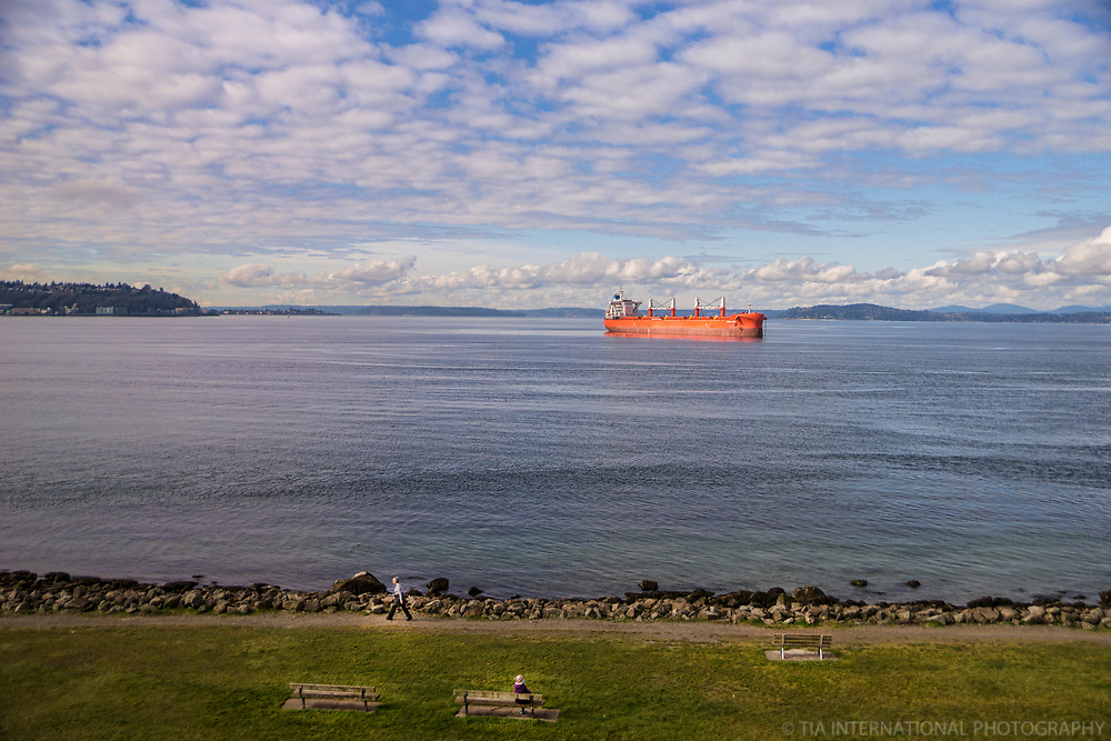 One individual walks along the coastal trail at the park as another takes in the view of an orange cargo tanker anchored in Elliott Bay. (April 4, 2020).