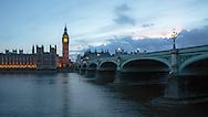 Westminster and Westminster Bridge at Dusk, London