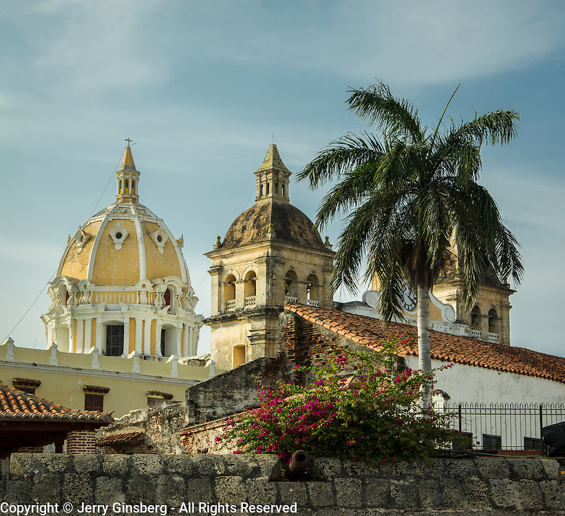 Historic Spanish colonial walls and fortifications surround the Old City of Cartagena, Colombia.