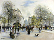 Paris in 1900':  Busy city street scene with pedestrians, horse-bus and cabs, and Haussmann architecture.   Jean-Francois Raffaelli (1850-1924) French painter.