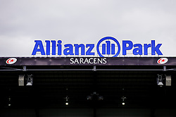 Allianz Park branding on the new East Stand - Photo mandatory by-line: Rogan Thomson/JMP - Tel: Mobile: 07966 386802 16/02/2013 - SPORT - RUGBY - Allianz Park - Barnet. Saracens v Exeter Chiefs - Aviva Premiership. This is the first Premiership match at Saracens new home ground, Allianz Park, and the first time Premiership Rugby has been played on an artificial turf pitch.