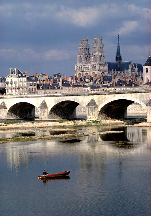 The Cathedral of Ste.-Croix stands guard over Orleans and the Loire River in France.