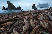 Sea stacks and piles of driftwood at Ruby Beach, Olympic National Park, Washington.