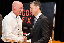 """Dr. Andy Harvey of Birkbeck Univeristy and Georg Pangl of EPFL during FIFPro """"Don't Fix it"""" Project Concluding Conference on June 3, 2014 in Grand Hotel Union, Ljubljana, Slovenia. Photo by Vid Ponikvar / Sportida"""