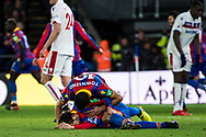 Crystal Palace #10 Andros Townsend, Crystal Palace #7 Yohan Cabaye, celebrate goal, Crystal Palace (12) Mammadou Sakho during the Premier League match between Crystal Palace and Stoke City at Selhurst Park, London, England on 25 November 2017. Photo by Sebastian Frej.