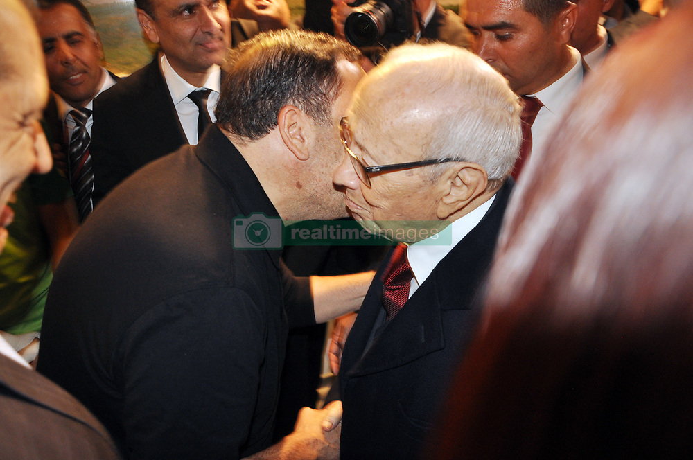 November 11, 2017 - Rades, Tunisia - The president of the republic Beji Caid Essebsi congratulates the coach of the Tunisian team Nabil Maaloul in the locker room for the qualification to the Russian world ....Qualifying match for the 2018 FIFA Russia World Cup at Rades Stadium between Tunisia and Libya..Tunisia qualifies for the Russian world after a draw 0/0. (Credit Image: © Chokri Mahjoub via ZUMA Wire)