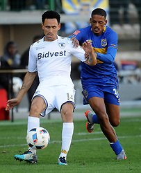 Cape Town-180224 Cape Town City Craig Martin challenging for a ball as WIts player Daylon Classen defending in their PSL game in Athlone Picture Ayanda Ndamane/African News Agency/ANA