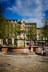 The fountain in the centre of the Place Carnot in Carcassonne, France<br /> <br /> (c) Andrew Wilson   Edinburgh Elite media