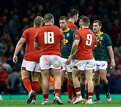 Handre Pollard of South Africa with Dillon Lewis of Wales after the match<br /> <br /> Photographer Simon King/Replay Images<br /> <br /> Under Armour Series - Wales v South Africa - Saturday 24th November 2018 - Principality Stadium - Cardiff<br /> <br /> World Copyright © Replay Images . All rights reserved. info@replayimages.co.uk - http://replayimages.co.uk