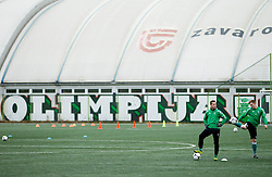 Matic Fink and Anze Zorc of NK Olimpija Ljubljana exercise during the first day of team Spring Training on January 7, 2013 in Ljubljana, Slovenia. (Photo By Vid Ponikvar / Sportida.com)
