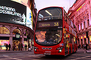 No. 38 Bus going through Piccadilly Circus on its way to Victoria at sunset
