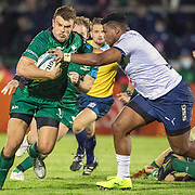 GALWAY, IRELAND:  October 01:  Tom Farrell #13 of Connacht drives at Lizo Gqoboka #1 of Vodacom Bulls during the Connacht V Vodacom Bulls, United Rugby Championship match at The Sportsground on October 1st, 2021 in Galway, Ireland. (Photo by Tim Clayton/Corbis via Getty Images)