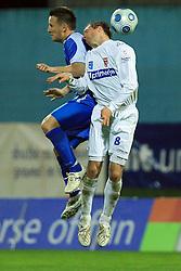 Admir Krsic of Hit Gorica vs Peter Petran of Primorje at 27th Round of Slovenian First League football match between ND Hit Gorica and NK Primorje Ajdovscina in Sports park Nova Gorica, on April 8, 2009, in Nova Gorica, Slovenia. (Photo by Vid Ponikvar / Sportida)