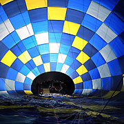 The patterns inside an inflating balloon during competition in the 20th FAI World Hot Air Ballooning Championships. Battle Creek, Michigan, USA. 22nd August 2012. Photo Tim Clayton