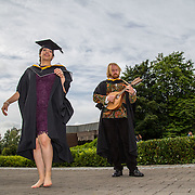 """23.08.2016        <br /> Over 300 students graduated from the Faculty of Arts, Humanities and Social Science at the University of Limerick today. <br /> <br /> Attending the conferring ceremony were Bachelor of Arts in Irish Music and Dance graduates, Nicolle Figueroa, Mexico and William Howard, Salthill, Co. Galway. William also received a Cooperative Education Award. Picture: Alan Place.<br /> <br /> <br /> <br /> <br /> UL Graduates Employability remains consistently high as they are 14% more likely to be employed after Graduation than any other Irish University Graduate<br /> Each year, the Careers Service collects information about the 'First Destinations' of UL graduates. During the April/May period following graduation, we survey those who have completed full-time undergraduate and postgraduate courses for details on their current status. This current survey was conducted nine months after graduation and focuses on the employment and further study patterns of the graduates of 2015. A total of 2,933 graduates were surveyed and a response rate of 87% was achieved. <br /> As the University of Limerick commences four days of conferring ceremonies which will see 2568 students graduate, including 50 PhD graduates, UL President, Professor Don Barry highlighted the continued demand for UL graduates by employers; """"Traditionally UL's Graduate Employment figures trend well above the national average. Despite the challenging environment, UL's graduate employment rate for 2015 primary degree-holders is now 14% higher than the HEA's most recently-available national average figure which is 58% for 2014"""". The survey of UL's 2015 graduates showed that 92% are either employed or pursuing further study."""" Picture: Alan Place"""